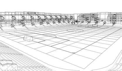 Soccer Stadium or Football Arena Concept. Vector