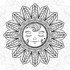 Ornamental sun coloring page.