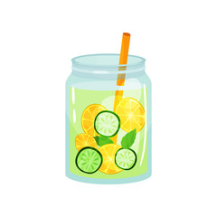Refreshing cocktail with green mint leaves, slices of lemon and cucumber. Glass jar of organic detox drink with straw. Natural and healthy beverage. Flat vector icon