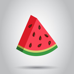 Watermelon sign vector icon. Realistic 3d ripe fruit illustration. Business concept simple flat pictogram.