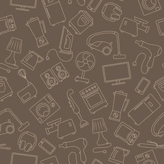 Seamless background with a simple contour icons on the topic of household appliances, beige outline on a brown background