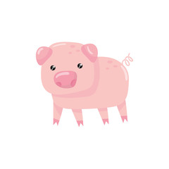 Pink little pig with swirling tail. Farm livestock. Cartoon character of domestic animal. Design for children book or sticker. Colorful flat vector icon