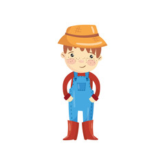 Cartoon character of young farmer in blue overall, red sweater, boots and straw hat. Little gardener. Smiling boy with shiny eyes and freckles on face. Flat vector design