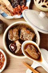 Pork chops in Chinese medicine soup. a popular night market food
