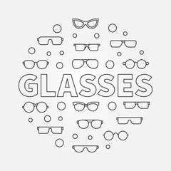Glasses round line illustration. Vector eyeglasses symbol