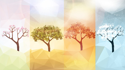 Four Seasons Banners with Abstract Trees - Vector Illustration. Fotoväggar