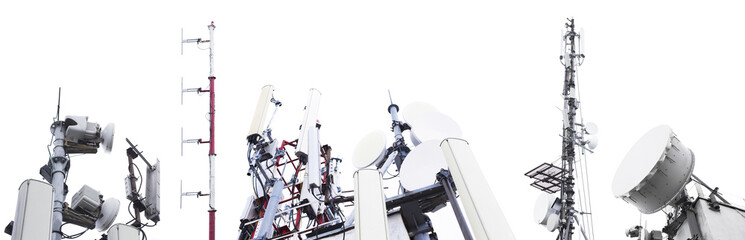 set of antenna and signal towers for signal isolated on white