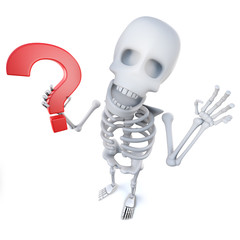 3d Funny cartoon skeleton character holding a question mark symbol