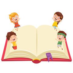 Vector Illustration Of Kids With Book