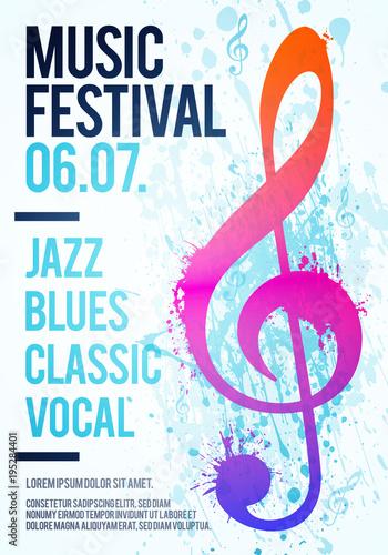 Vektor Illustration Vorlage Poster Flyer Musik Festival Event mit ...