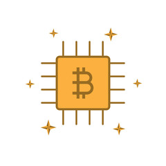 cryptocurrency bitcoin chip flat design icon vector illustration