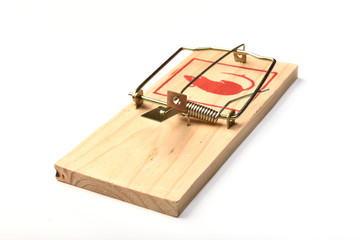 Mousetrap on a white background