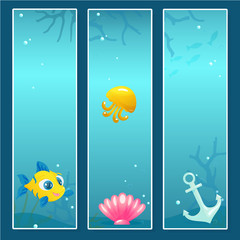 Set of Nautical Banner Templates with Underwater Elements