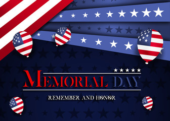 Memorial day vector design. Honoring all who served banner for the memorial day. Remember and Honor.