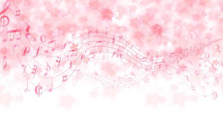 桜 春 音符 背景