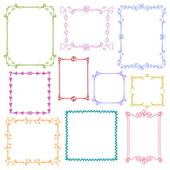 Babies and Kids photo frames vector set, Childrens drawing doodle style, Cute ornamental colorful floral photo frames for decoration and design