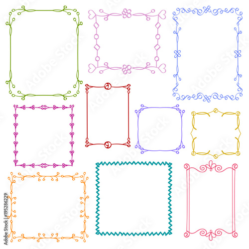 909759001b06 Babies and Kids photo frames vector set, Childrens drawing doodle style,  Cute ornamental colorful floral photo frames for decoration and design