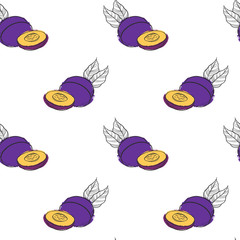 vector seamless pattern with plums