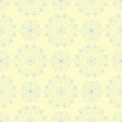 Floral seamless pattern. Beige background with light blue and green flower elements