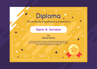 Cute children diploma or certificate design template on yellow background with lovely graphic elements