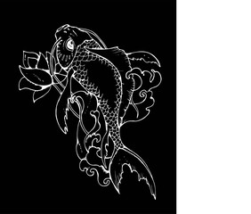 llustration of Japanese carp. Black and white drawing