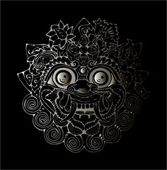 Illustration of a Thai mask. Black and white drawing of the eastern deity