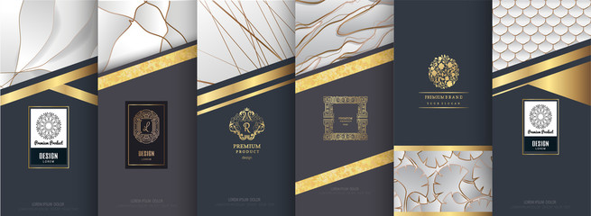 Collection of design elements,labels,icon,frames,for packaging,design of luxury products.for perfume,soap,wine,lotion.Made with golden foil.Isolated on silver and marble background.vector illustration