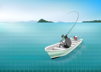 Vector illustration of the black man with   white boat and fishing rod, rod buckling, reel on the blue sea background. Concept of the business waiting in the important moments to successful.