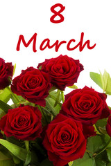 Women's day - flowers with word 8 March