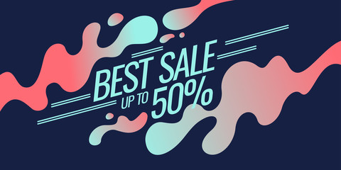 Bright colorful poster Sale 50 percent with splashes.