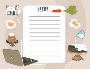 Hand drawn vector abstract modern cartoon cooking studio class illustrations recipe cooking card templete with handwritten calligraphy quotes isolated on white background