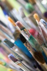 Paintbrush set as innovation, imagination, creativity or decoration background