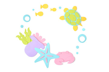 Sea life circle frame paper cut on white background - isolated