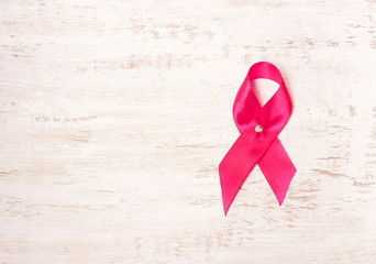 Pink ribbon . symbol of the fight against breast cancer, oncology