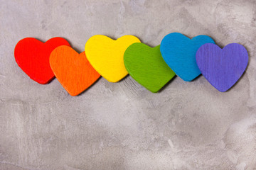 hearts of the color of the rainbow . symbol of LGBT