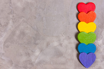 symbol of LGBT,hearts of the color of the rainbow .