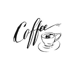 Hand drawn vector abstract artistic ink sketch drawing handwritten coffee word calligraphy and cup isolated white background.Coffee shop concept