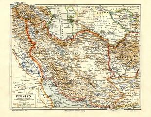 Map of Iran (Persia) ca. 1890 (from Meyers Lexikon, 1896, 13/682/683)