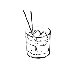 Hand drawn vector abstract graphic artistic cooking ink sketch illustration drawing of alcohol cocktail drink in glass isolated on white background