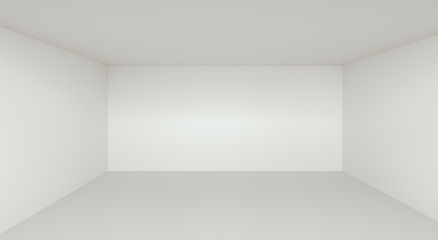 Empty Room Interior White Background - 3D Rendering