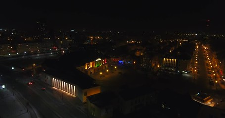 Klaipeda City Lights. Night Flight Over The Town Center From Bird Eye.