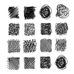 Set of hand drawn scribble symbols isolated on white. Doodle style sketches. Shaded and hatched badges and bubble shapes. Monochrome vector eps8 design elements