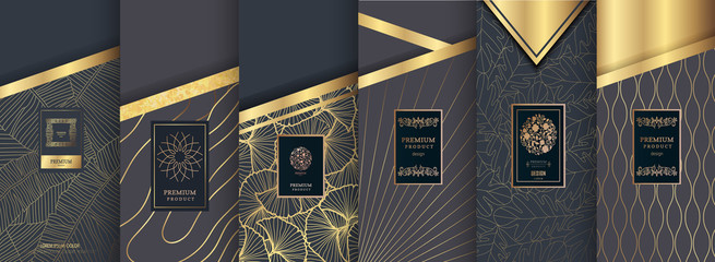 Collection of design elements,labels,icon,frames,for packaging,design of luxury products.for perfume,soap,wine,lotion.Made with golden foil.Isolated on gold and brown background. vector illustration