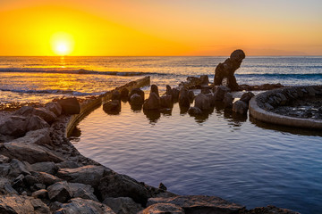 Garden Poster Canary Islands Sunset ocean landscape, Playa de la Americas on Tenerife, Canary Islands, Spain