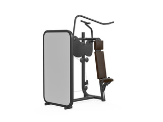 Multifunctional gym machine, angle view isolated on white background. 3D Rendering, Illustration.