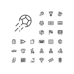 Kick ball icon in set on the white background. Soccer / football linear icons to use in web and mobile app.
