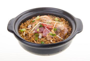 Claypot chicken rice. asia food