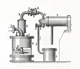 Detail of four stroke engine by Nikolaus August Otto (from Meyers Lexikon, 1896, 13/743)