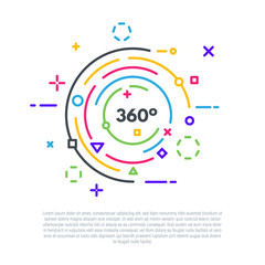 Linear banner concept. 360 degrees logo. VR or 360 video emblem. Flat style line modern vector illustration. Colorful shapes and circles.