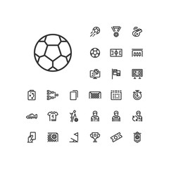 Soccer ball icon in set on the white background. Soccer / football linear icons to use in web and mobile app.